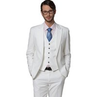 New White Men Suits Slim Fit Wedding Tuxedos Groom Wear 3 Pi...