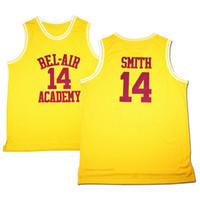 Navio de nós #Movie Men's Basketball Jerseys O Príncipe Fresco de Bel-Air 14 Will Smith Jersey Amarelo Academia Size S-3XL