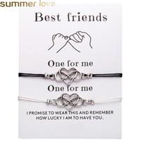2 unids / set Fashion Heart Parejas Pulseras Set para mujeres hombres Bohemian Pulsera infinita Brazalete Best Friend Wish Card Jewelry Mejor regalo