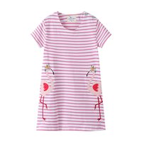 Summer Girls Dress Enfants manches courtes Striped Cartoon Robe imprimée Mode Bébé Vêtements pour enfants
