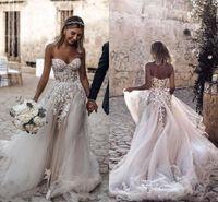2019 Barato Plus Size Country Style 3D Floral Appliques A-Line Vestidos De Noiva Boêmio Vestidos Bridais Para Noivas Robe de Mariée BC2024