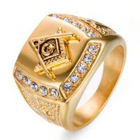 Anello massone massonico quadrato in acciaio inossidabile 316L oro 18 carati anello massone personalizzato segni emblema massonico su ordinazione anelli con pietre di cristallo