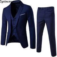 CYSINCOS 2019 Men's Fashion Slim Suits Men's Business Casual Clothing Groomsman Three-piece Suit Blazers Jacket Pants Sets
