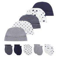 2020 Unisex 0-6 meses sólido suave algodón niñas niños sombrero  guantes conjuntos gorras recién nacido fotografía Accesorios