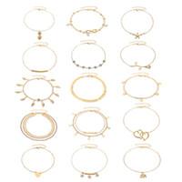15PCS / مجموعة أساور الكاحل للنساء بنات ذهبية فضية اثنين من نمط سلسلة شاطئ خلخال سوار مجوهرات خلخال مجموعة، الحجم قابل للتعديل