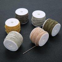 10 Peates / Ancho de rollo 2mm Metal Ball Cadenas de cuentas Collar Hierro Rosa Oro Silver Bronce Cadena Negra Hallazgos para la fabricación de joyería de bricolaje