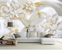 Foto personalizada Papel de pared 3D Estilo Europeo Seda en relieve perla joya flor minimalista wal Gran Papel Tapiz Mural Para Dormitorio Sala de estar Pared
