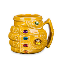 Marvel Thanos Gloves Fist Coffee Mugs Anime Cups and Mugs Cool Plastic Infinity Gem Mark Cartoon Drinkware