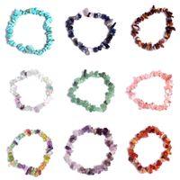 Природный кристалл гравий браслет Аметист мода Шарм браслеты розовый кристалл бирюзовый коралловый красный 24 цвета 20 шт. / лот Оптовая