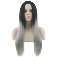 회색 헤어 스트레이트 롱 가발 화이트 합성 머리 내열성 회색 머리카락 가발 여성용 가발