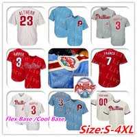 Coutume Phillies Jersey 3 Bryce Harper Philadelphie Rhys Hoskins JT Realmuto Aaron Nola Mike Schmidt Odubel Herrera Scott Kingery Femmes Utley