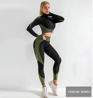 2020 Vente Chaude Femmes De Sport Ensemble de Yoga Fitness Gym Vêtements De Course de Tennis Chemise + Pantalon de Yoga Leggings Jogging Workout Sport Costume 20042002W