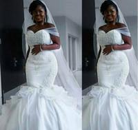 Robes de mariée nigérian sirène 2019 de l'épaule Garden Country Church Robes de mariée Mariée Custom Made Plus Taille