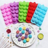 15 شبكة 3D زهرة سيليكون قالب الشوكولاته الجليد صينية كعكة قالب سهل الإصدار الغذاء الصف المواد شحن مجاني