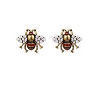 Mujeres Marca Moda Cute Crystal Bees Stud Pendientes Femenino Vintage Pendientes Pendientes Esmalte Animal Joyería Boda Accesorios de Brincos