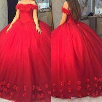 2020 Kırmızı Kapalı Omuzlar Balo Quinceanera Elbiseler Korse Backless El Yapımı Çiçekler Tatlı Onaltı Vestidos de 15 Anos Pageant Elbise Balo
