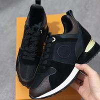 2019 جديد فاخر جلد طبيعي تشغيل بعيدا مصمم رياضة المرأة أحذية المدربين الأزياء عارضة أحذية الرجال مختلط اللون المربع الأصلي sz لنا 5-12