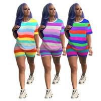 Kadın eşofman 2 parça set rahat yaz giysileri sevimli Gökkuşağı çizgili baskı kısa kollu t-shirt sıska şort jogging yapan spor suit