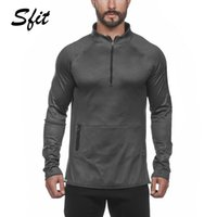 Sfit Herren Mittelkragen 3/4 Reißverschluss Casual Sports Running Fitness Shirt Port Herren Quarter-Zip Pullover Quick Dry Top Shirts Neu