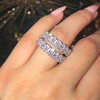 Venta caliente brillante joyería de lujo Real 925 Sterling Silver Silver Cut White Topaz CZ Diamond Popular Lady Band Band Anillo para las mujeres Regalo
