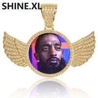 Altın Gümüş Özel Fotoğraf Kanatları ile Bellek Madalyonlar Kolye Kolye Tenis Zinciri Hip Hop Takı ile Kişiselleştirilmiş Kübik Zirkon CH