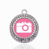 Pink Camera Circle Charm Charm Gold/Sliver Pendants For Necklace/Bracelet Making Jewelry Findings DIY Handmade Craft Gifts