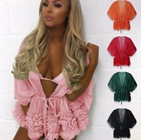 women Batwing Sleeve Blouse Summer Beach Solid Bikini Swimsu...