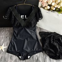 2019 New Black Lace One Piece Swimsuit Women Plus Size Swimw...