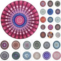 Mandala Beach Towel Blanket For Peacock Bohemia Round Printi...