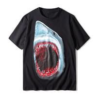 유명한 남성 T 셔츠 여름 상어 인쇄 고품질 코튼 커플 반팔 남성 여성 T 셔츠 2 색