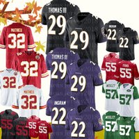Ravens 29 Earl Thomas Jersey 32 Tyrann Mathieu Chiefs 55 Dee Ford 49ers 57 C.J. Mosley Jets Maillots de football Baltimore Raven Ingram
