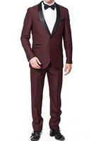 Nueva barato y fino del mantón de la solapa de los padrinos de un botón de los smokinges del novio de los hombres Trajes de boda / de Baile / Cena mejor hombre Blazer (chaqueta + Pants + tie) 225