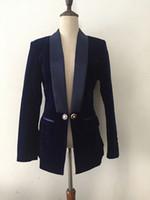 Premium nuovo stile Top Quality Design originale Design Personalità donna Velluto Blazer Giacca Satin Shawl Collar Collo Blazer Cappotto Outwear Black Navy