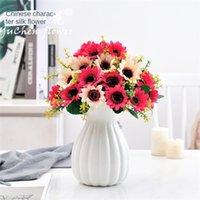Falso plastica Fiore artificiale Bouquet di simulazione 7 Head Piccolo Girasole del fiore di Sun di stile europeo del salone della casa della decorazione del fiore