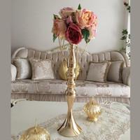 """3 Renkler Metal Mumluklar 50cm / 20"""" Çiçek Vazo Mum Çubuk Düğün Masa Centrepiece Olay Dekorasyon Yol Mum Standları Kurşun Raf"""