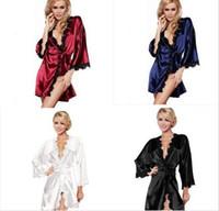 Женская сексуальная Одеяния Sleepwear атласные кружева платье Три четверти Ночное Белье Интимная одежда Эротическое Сорочки Lady Одежда