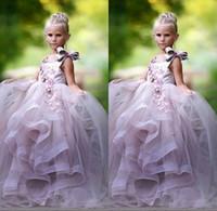 جميلة الأميرة الكرة ثوب زهرة فتاة فساتين 3d الأزهار يزين القوس gilrs مهرجان اللباس رقيق تول طويل عيد اللباس