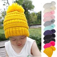 키즈 POM POM 웨이 모자 겨울 니트 모자 따뜻한 양모 모자 베이비 비니 솔리드 컬러 어린이 니트 야외 모자 C963