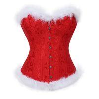 المرأة عيد الميلاد سانتا حلي مثير مشد بوستير الأعلى منتجات المشدية Overbust زائد الحجم ازياء مثير الأحمر سخرية 6XL