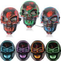 Хэллоуин маски светодиодные вверх Scary Скелет черепа маски для Хэллоуина Фестиваль Косплей Костюм маскарада Карнавал 10 цветов ZZA1182