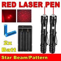 2PCS 100miles puissant 009 stylo pointeur laser rouge de la lumière 650m Faisceau militaire 2in1 laser rouge Pen étoile Cap + 18650 Batterie + Chargeur