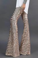 S M L XL Женщины Sequin Bell Нижние днища Длинные Широкие Ноги Брюки Сексуальные Очаровательные вспышки Вутательные Упругие Брюки Партия Ночной клуб Streetwear DLM77221