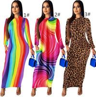 Kadınlar tasarımcı elbiseler sonbahar moda bodycon uzun elbise seksi leopar ayak bileği uzunluğu elbise etekler akşam clubwear elbiseler klw2119