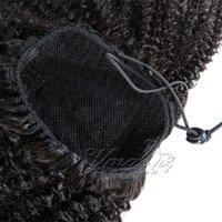 Бразильский Afro Kinky завитые Природные 100г 120г Плетение клипы в упругом Ленточном Ties Drawstring Ponytail Дева человеческих волос