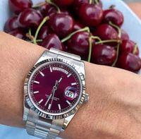 야외 41mm로 레드 자동 운동 남성 손목 시계 대통령 팔찌 남성 시계 사파이어 크리스탈의 날 및 날짜 시계 다이얼