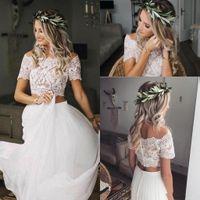 Sexy Dos piezas de playa estilo rural una línea vestidos de novia gasa manga corta boho encaje bohemio vestido de novia vestido de novia Robes de Mariee