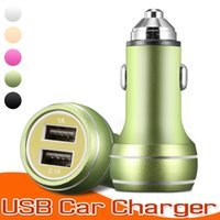 Micro Dual USB Car Charger Cell Phone Charger Adaptador de energia portátil 5V 2.1A + 1A adaptador de metal para iPhone para Samsung e Tablet