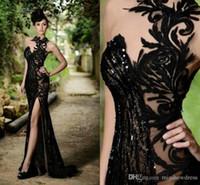 Robes de bal sirène Sheer noir élégant Sexy Jewel cou haute Slit Robes de soirée grande taille Custom Made pas cher Vestidos De Festa BO7602