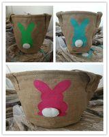 DIY Kaninchen Jutesäcken, Ostern Kaninchen Korb Osterhase Taschen Kaninchen gedruckt Leinwand-Tasche Egg Süßigkeiten Körbe