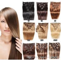 Clip in den Haarverlängerungen Schokolade braun / leichte blonde # 4/27 farbe 8 stücke 120g 14 zoll-24inch remy menschliche haare verlängert clip in gerade dicke natürliche Haarverlängerungen